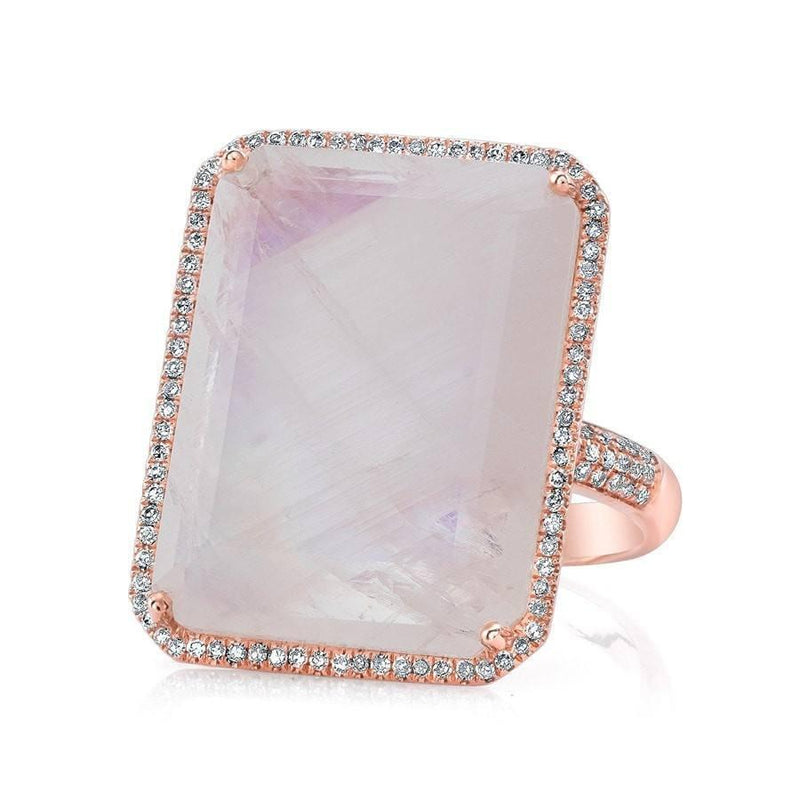 14KT Rose Gold Moonstone Diamond Rectangle Cocktail Ring