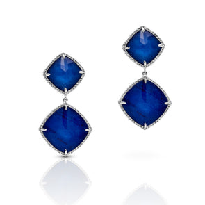 14KT White Gold Diamond Sapphire Martine Earrings