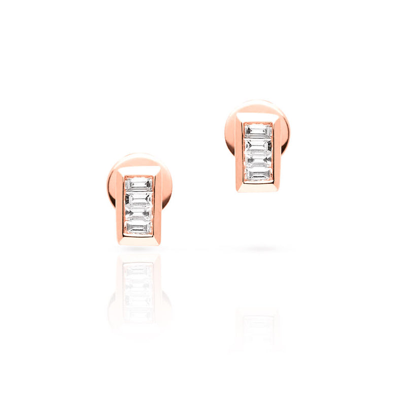 14KT Rose Gold Baguette Diamond Gabriella Stud Earrings