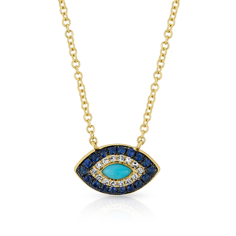 14KT Yellow Gold Diamond Sapphire and Turquoise Evil Eye Necklace
