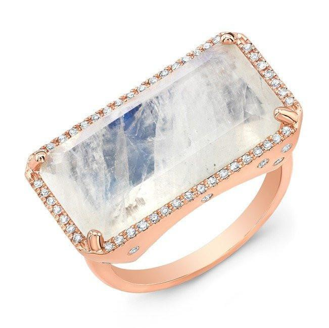 14KT Rose Gold Diamond Base Moonstone Ring