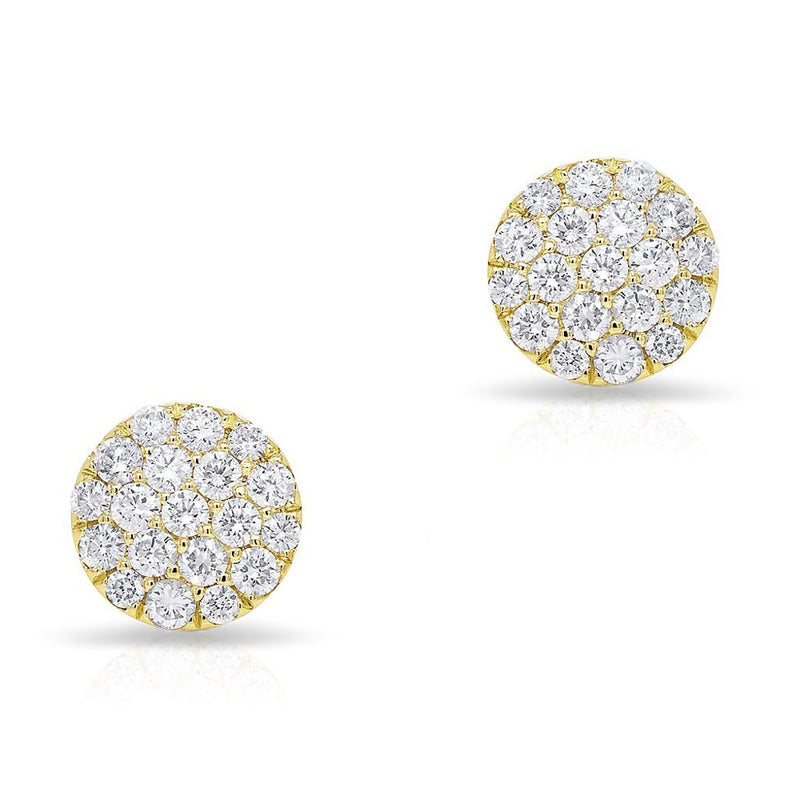 14KT Yellow Gold Large Diamond Disc Stud Earrings