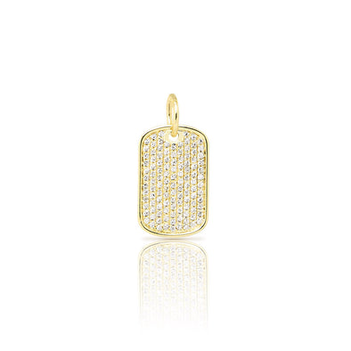14KT Yellow Gold Diamond Dog Tag Charm