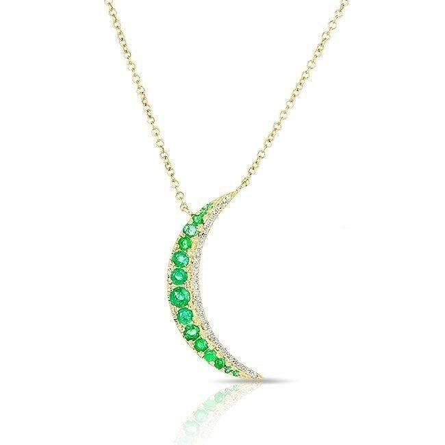 14KT Yellow Gold Emerald Moon Diamond Necklace