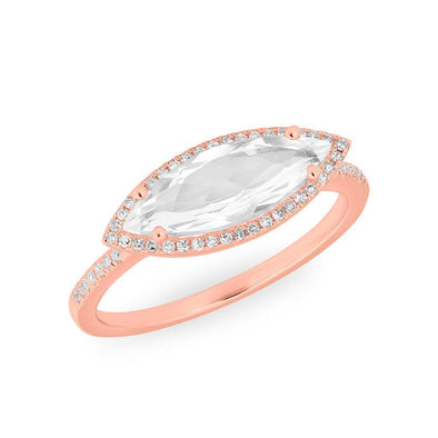 14KT Rose Gold Diamond Topaz Marquis Miranda Ring