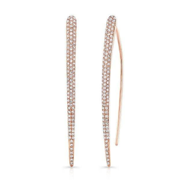 14KT Rose Gold Diamond Large Wishbone Earrings