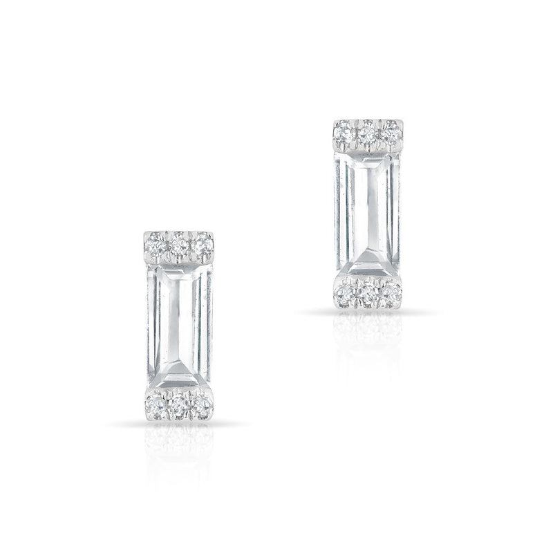 14KT White Gold White Topaz Diamond Mini Rectangle Stud Earrings