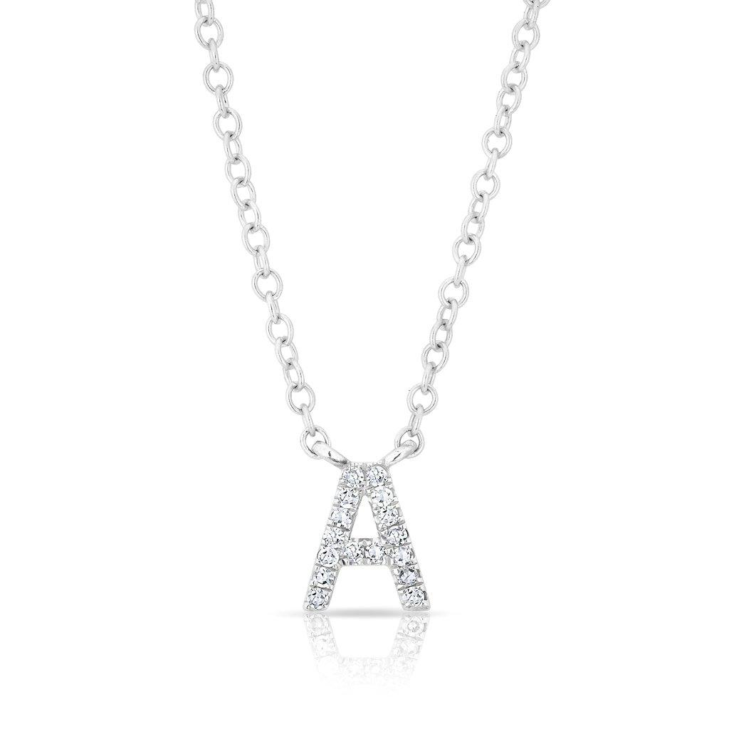 14kt white gold diamond initial pendant necklace mozeypictures Images