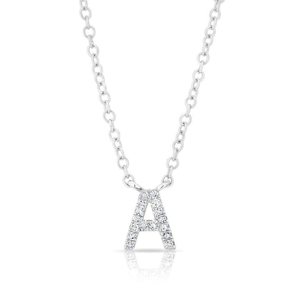 14KT White Gold Diamond Initial Pendant Necklace
