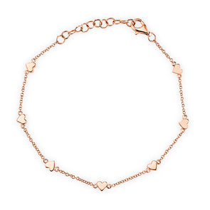 14KT Rose Gold Hearts Bracelet