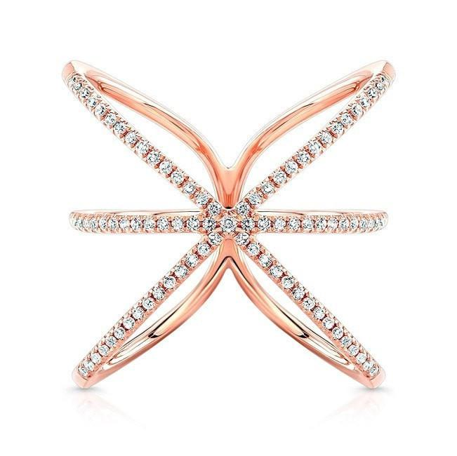14KT Rose Gold Diamond Starburst Ring