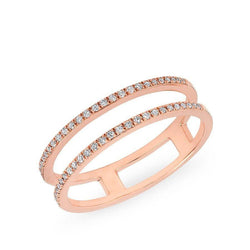 14KT Rose Gold Diamond Double Bar Band Ring