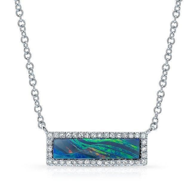 14KT White Gold Opal Diamond Brick Necklace