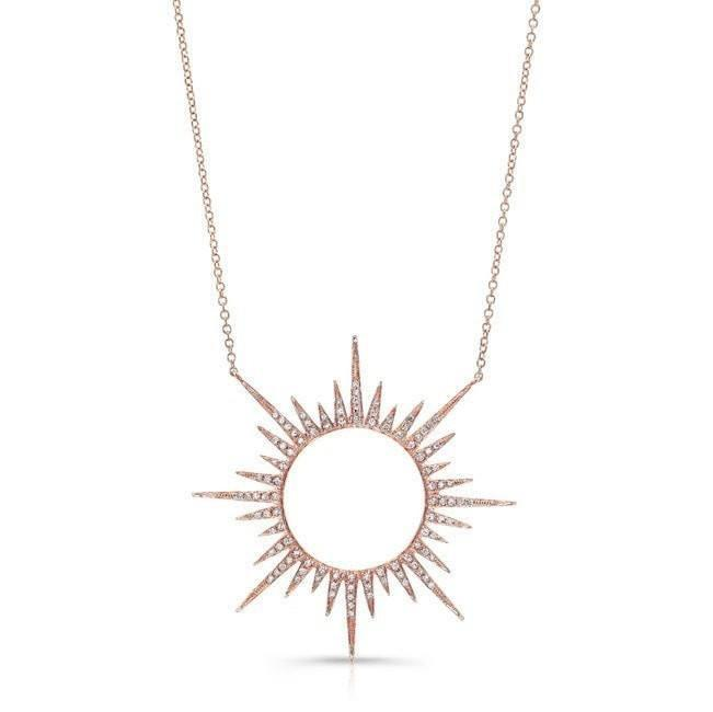 14KT Rose Gold Diamond Open Sunburst Necklace