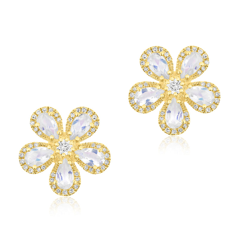 14KT Yellow Gold Moonstone Diamond Flower Earrings