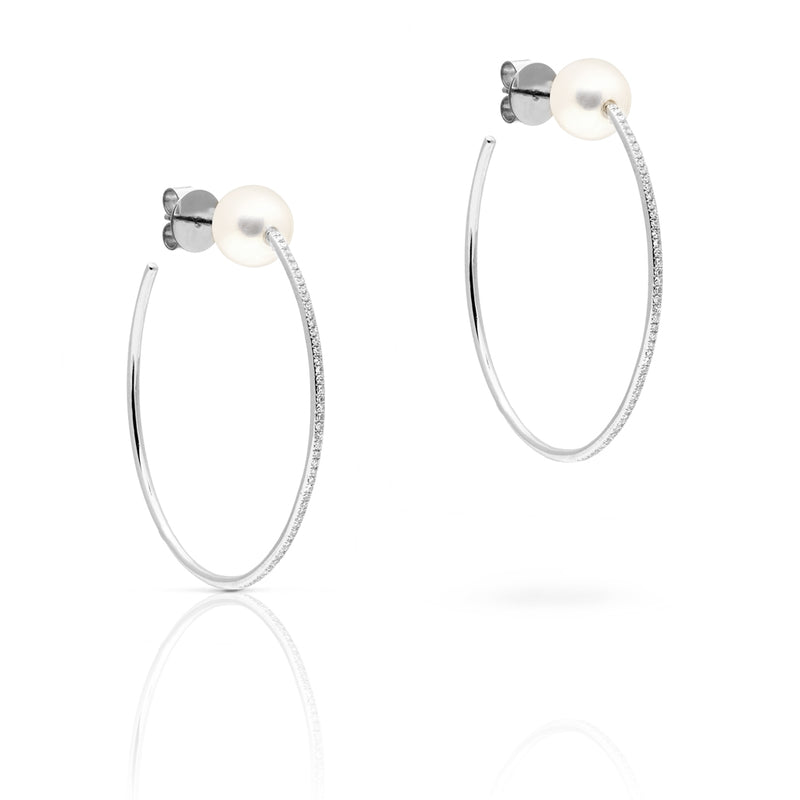 "14KT White Gold Diamond and Pearl 1.5"" Hoop Earrings"