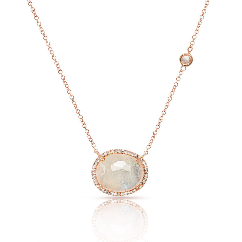 14KT Rose Gold Organic Moonstone Diamond Orbit Necklace