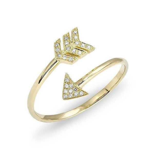 14KT Yellow Gold Diamond Mini Arrow Wrap Ring