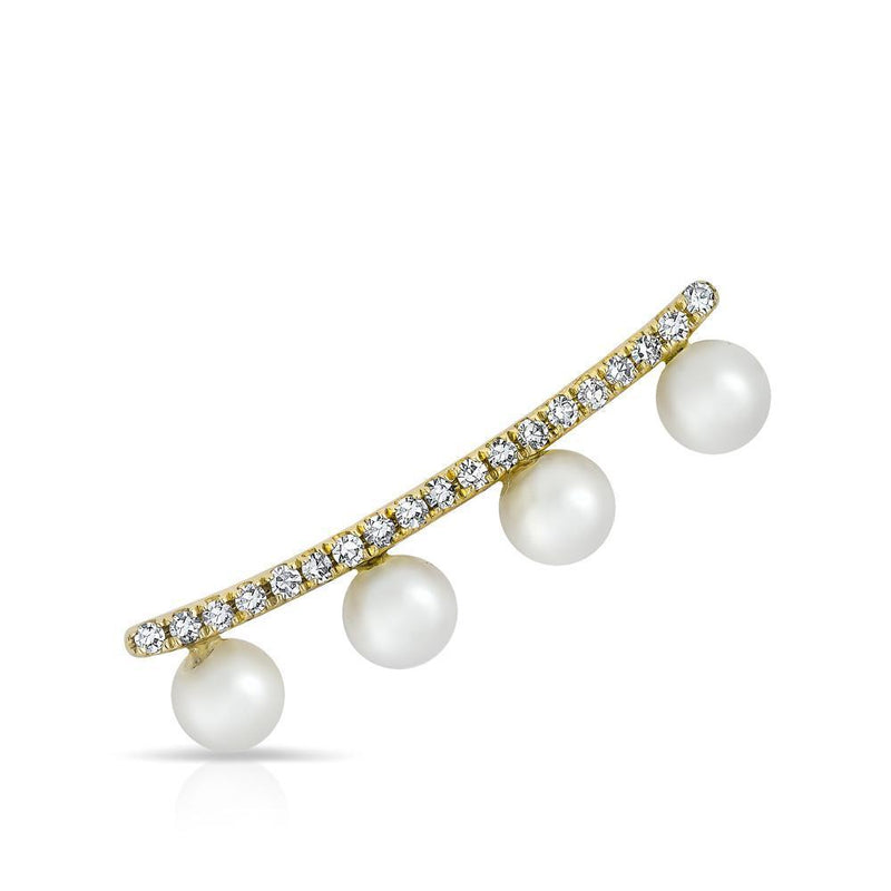 14KT Yellow Gold Diamond Pearl Bar Hayley Ear Climber