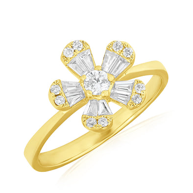 14KT Yellow Gold Baguette Diamond Daisy Ring