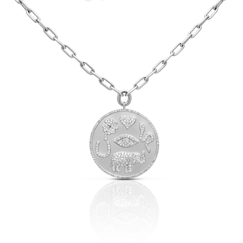 14KT White Gold Diamond Talisman Medallion Chain Necklace
