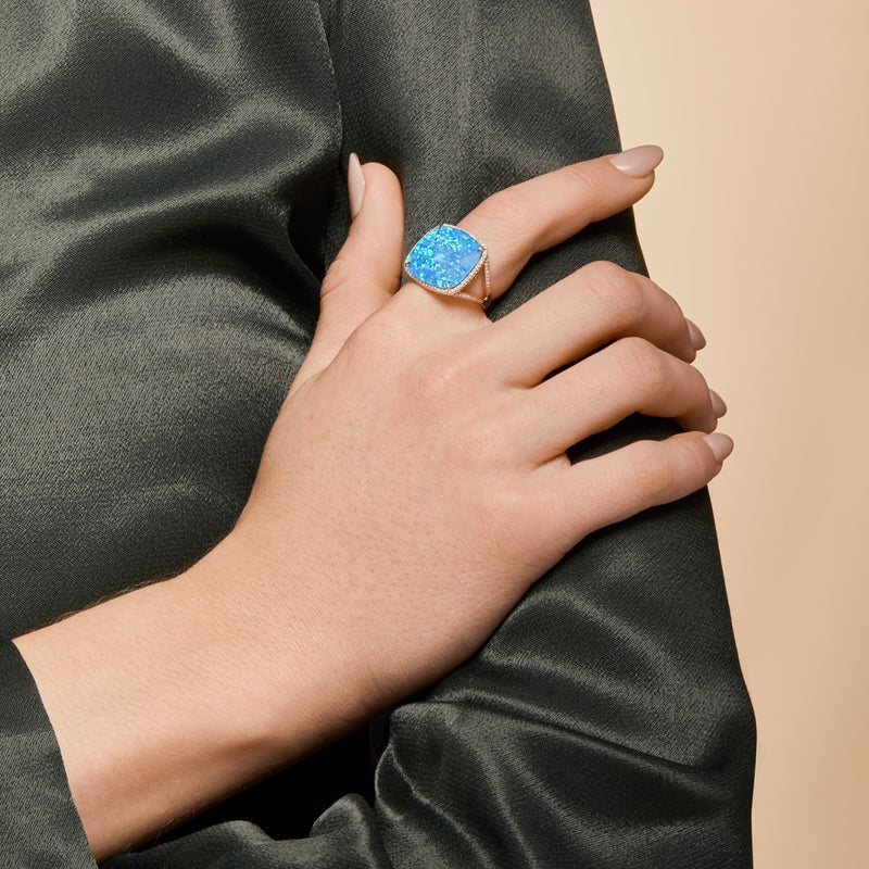 14KT White Gold Opal Diamond Cushion Cut Luxe Cocktail Ring-Anne Sisteron