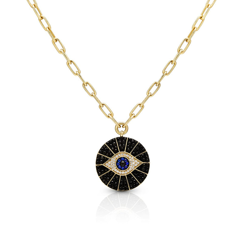 14KT Yellow Gold Black and White Diamond Sapphire Evil Eye Chain Necklace