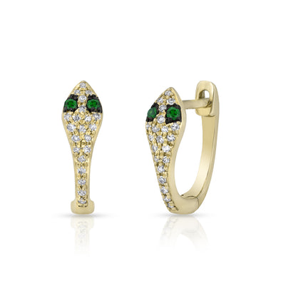 14KT Yellow Gold Diamond Emerald Snake Huggie Earrings