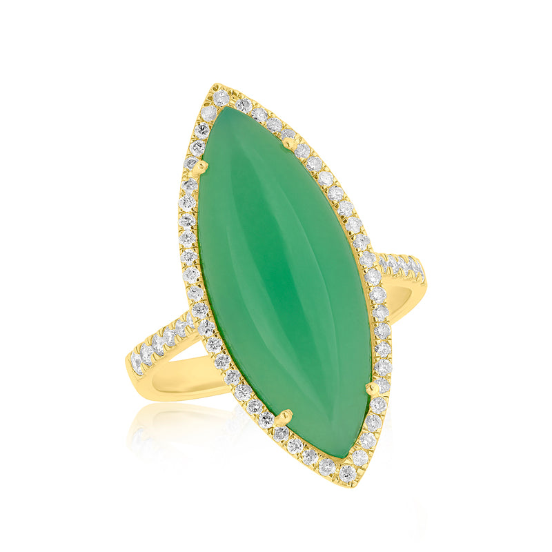 14KT Yellow Gold Diamond Chrysoprase Marquis Ring