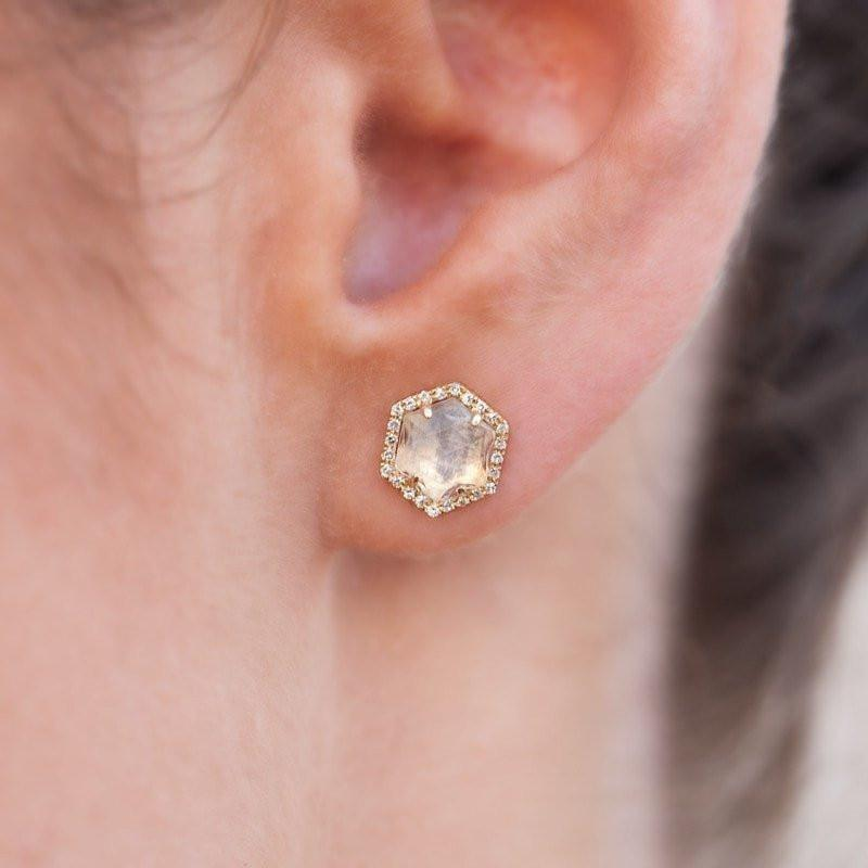 14KT White Gold Moonstone Diamond Hexagon Stud Earrings-Anne Sisteron