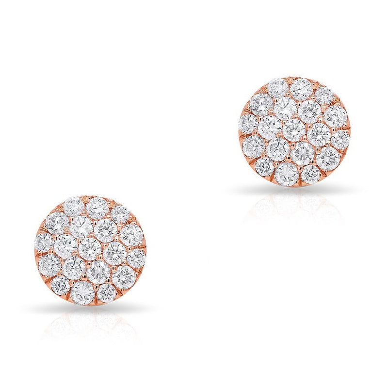 14KT Rose Gold Large Diamond Disc Stud Earrings