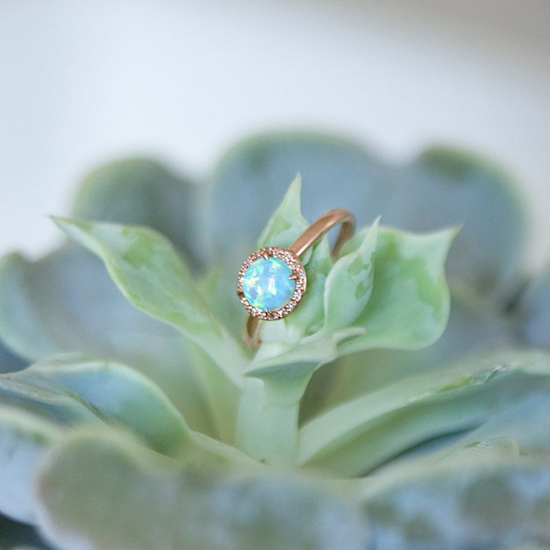 14KT Rose Gold White Opal Diamond Solitaire Ring-Anne Sisteron