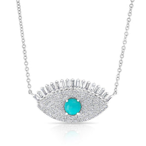 14KT White Gold Baguette Diamond and Turquoise Gypsy Necklace