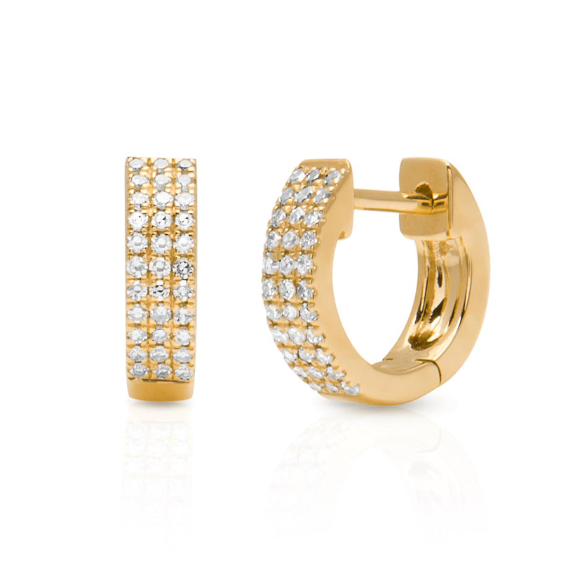 14KT Yellow Gold Diamond Chloe Huggie Earrings