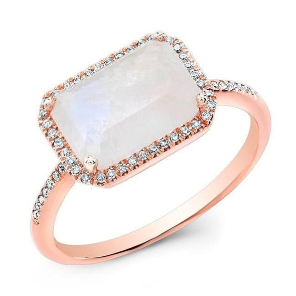 14KT Rose Gold Moonstone Diamond Chic Ring