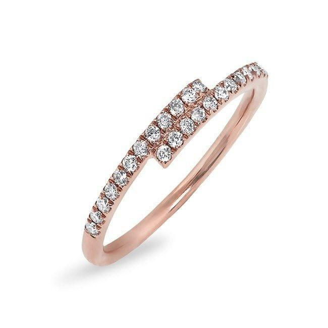 14KT Rose Gold Diamond Ridge Ring