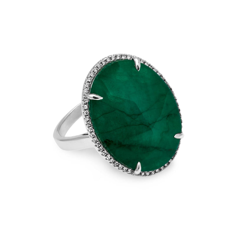 14KT White Gold Emerald Diamond Oval Triplet Cocktail Ring