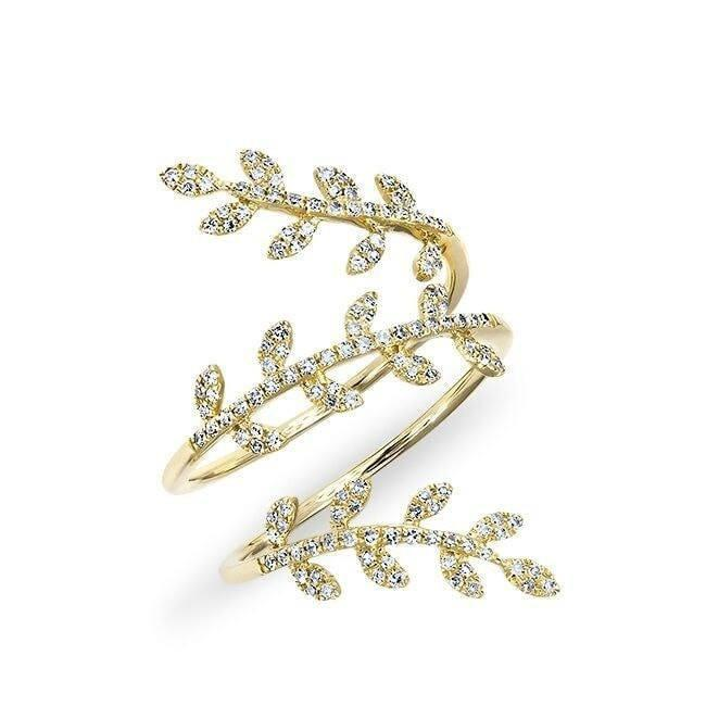14KT Yellow Gold Diamond Vine Wrap Ring
