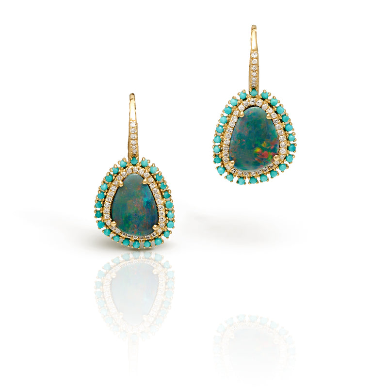 14KT Yellow Gold Diamond Opal Turquoise Wireback Earrings
