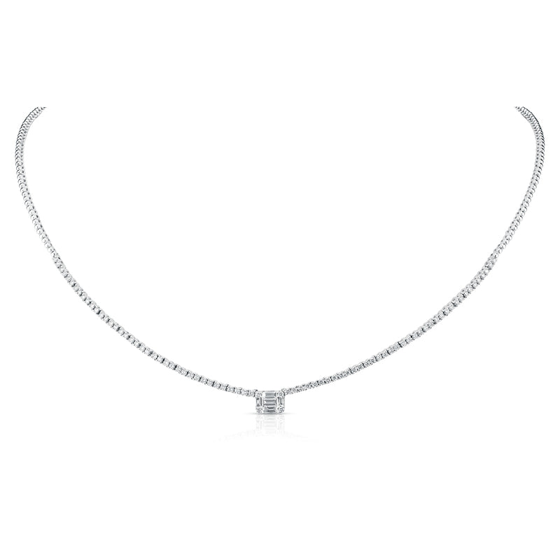 14KT White Gold Baguette Diamond Colette Necklace