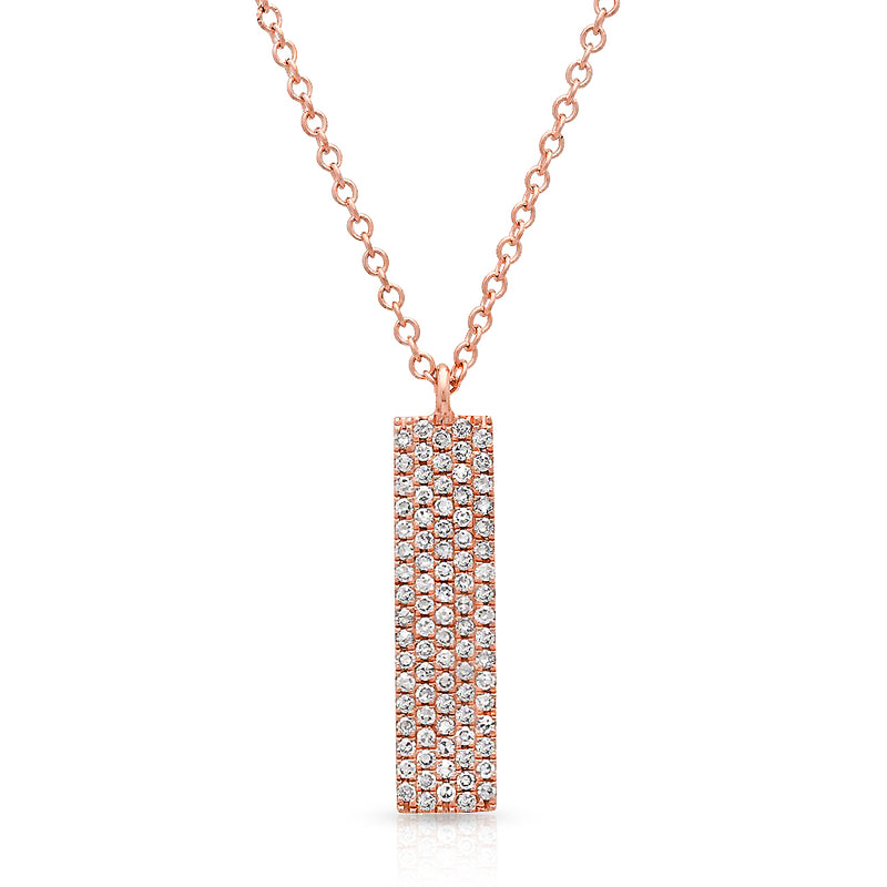 14KT Rose Gold Diamond Pave Bar Necklace