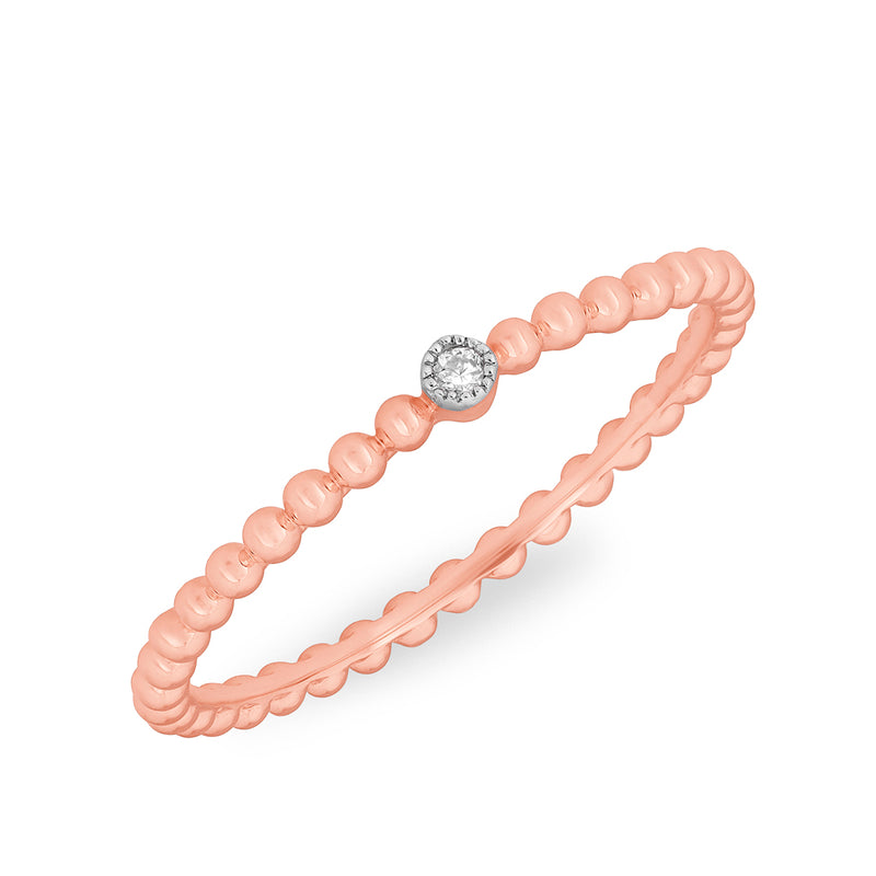 14KT Rose Gold Beaded Diamond Ring