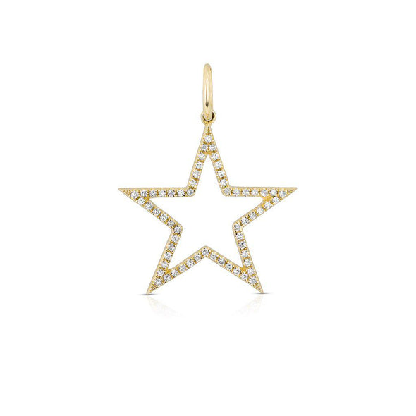 14KT Yellow Gold Diamond Open Star Charm Pendant