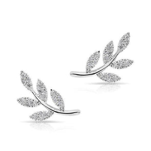 14KT White Gold Diamond Leaf Stud Earrings