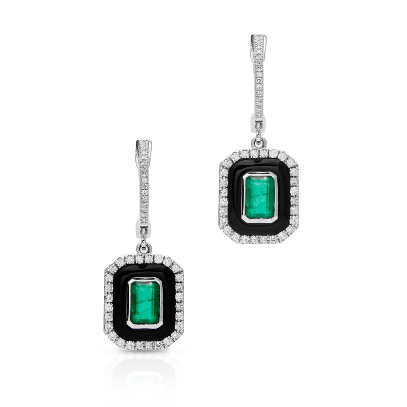 14KT White Gold Black Onyx Emerald Diamond Earrings