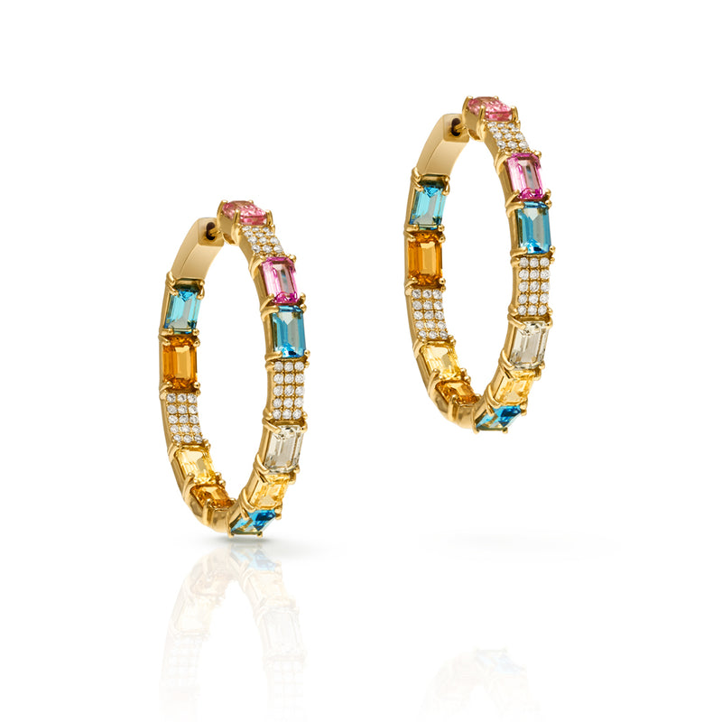 14KT Yellow Gold Diamond Sapphire Isadora Hoop Earrings