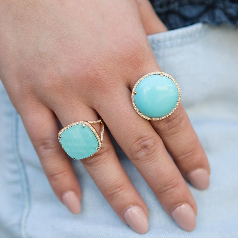 14KT Yellow Gold Diamond Turquoise Round Cocktail Ring-Anne Sisteron