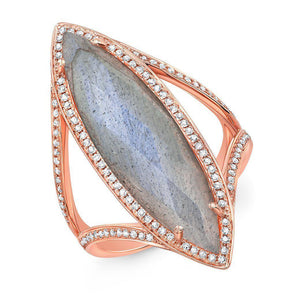 14KT Rose Gold Diamond Labradorite Alexis Ring