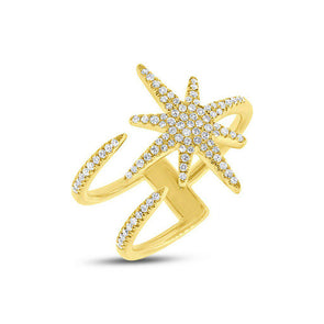 14KT Yellow Gold Diamond Star Wrap Ring