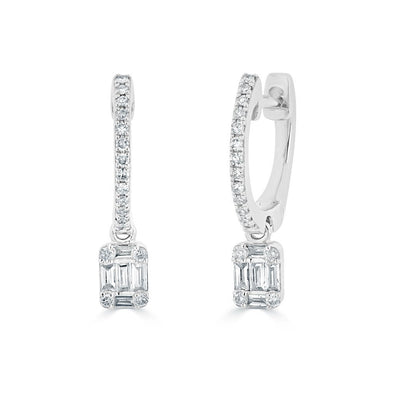 14KT White Gold Mini Baguette Diamond Rectangle Ryleigh Drop Earrings